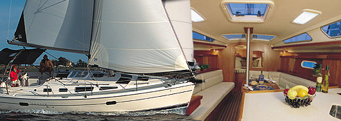 Interior and exterior of Fun Time Sailing's yacht on Lake Lavon.