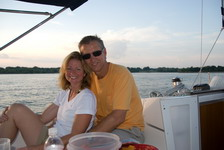 A happy couple enjoying a cruise on Lake Lavon.