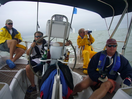 Yacht racing crew in action